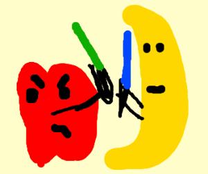 Lightsaber fight: Apple Jedi VS Banana Sith