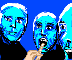 Blue man group getting medical checkup