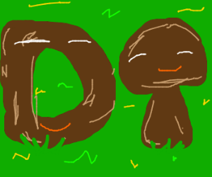 Anthropomorphic poo spells out 'Do'