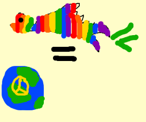 Peace on earth is spread by rainbow dove farts