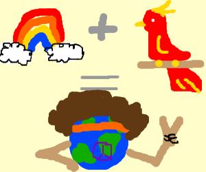 hippy world peace equal rainbow parrot