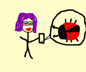 Purple hair, big glasses girl has a ladybug