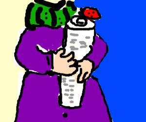 Woman holding a paper with a lady bug on it