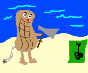 electric peanut with axe on the beach