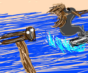 Mullet seal waterskis away from hammer guy