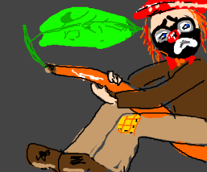 Squidbilly clown rides an orange bean