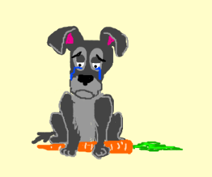 Tramp is sad sitting on carrot
