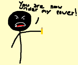 Angry stickman takes power over a pencil