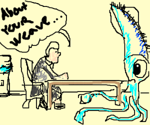 Kind co-worker consoles squid about bad weave