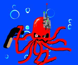 Crazy Cyborg-Octopus with shotgun