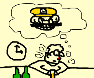 Lonely Drunk waits for Wario