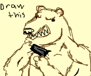 Bear with a gun and jacked mocking you to draw