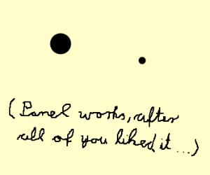 Minimalist artist draws 2 dots, public in awe!