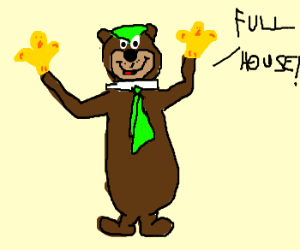 Yogi bear thought poker involved hand puppets