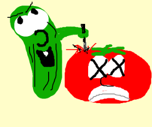 Veggietales gone horribly wrong. Veggie Tales Larry The Cucumber And Bob The Tomato