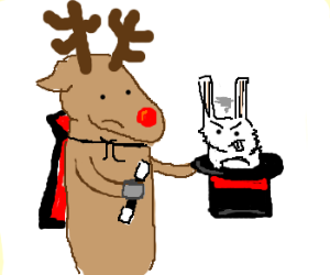 Magician reindeer conjured angry rabbit