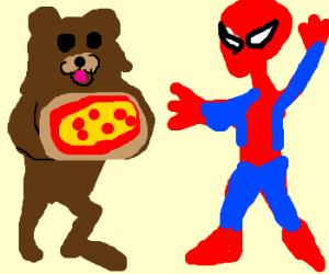 Pedo Bear serves Spider Man pizza.