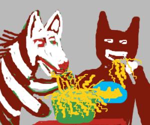 Zebra eating ramen with Batman