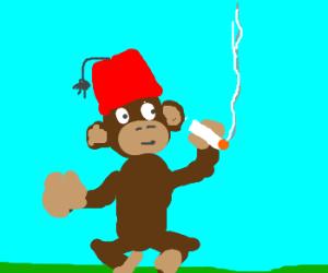 Monkey with a fez, having a smoke