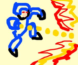 Mega Man shoots . . . ?