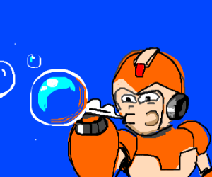 Mega Man X plays with bubbles