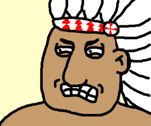 Family-Guy-Style Native American Looks Angry