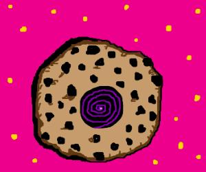 Chocolate-chip cookie w/tasty blackhole center