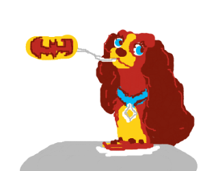 Batman & the Tramp share spaghetti