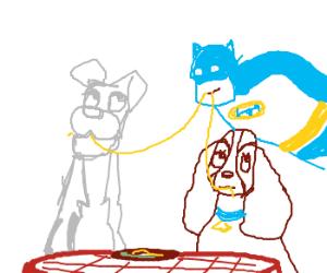 lady an tramp sharing spaghetti with batman