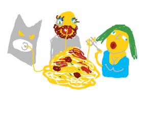 Batman,lady and tramp eat spaghetti