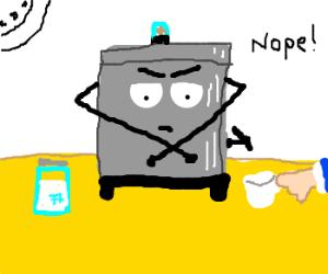 Coffee machine on strike
