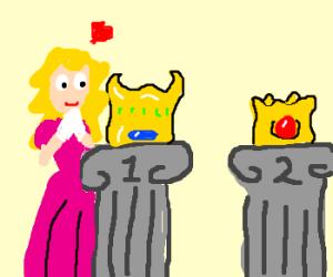 Princess Peach admires her #1 crown