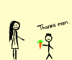 mother giving her son a carrot as lunch