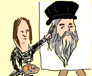 Mona Lisa paints Da Vinci
