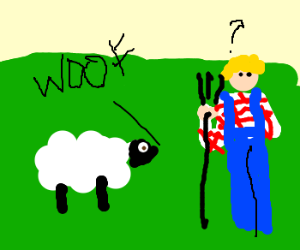 Sheep woofs--farmer is very confused