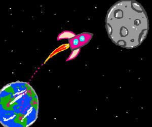 International Pink Rocket to the Moon - Drawception