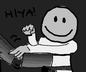 Black and white karate smiley