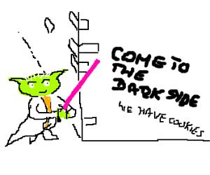 Yoda confronts scandalous Dark Syde Graffiti