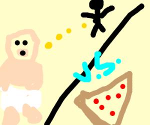 Fat baby drinking urine vs. Pizza