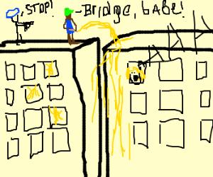 Police catch man making golden bridge of urine