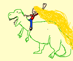 blonde girl with huge hair riding a dinosaur
