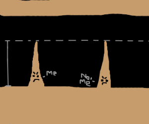 Two stalagmites argue over who is taller