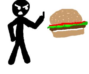 Man flips off hamburger