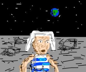Grandma with dreads dances on the moon