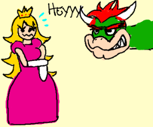 Bowser being extra creepy with Princess Peach.