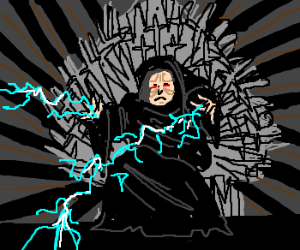 Palpatine sits on the Iron Throne.