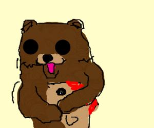 Pedobear wrong-hugging a volcano fish
