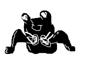 A black frog with handcuff hearts in his eyes