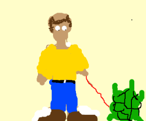 Man walks pet turtle.