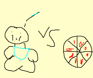 A fat baby being peed on vs. a peperoni pizza